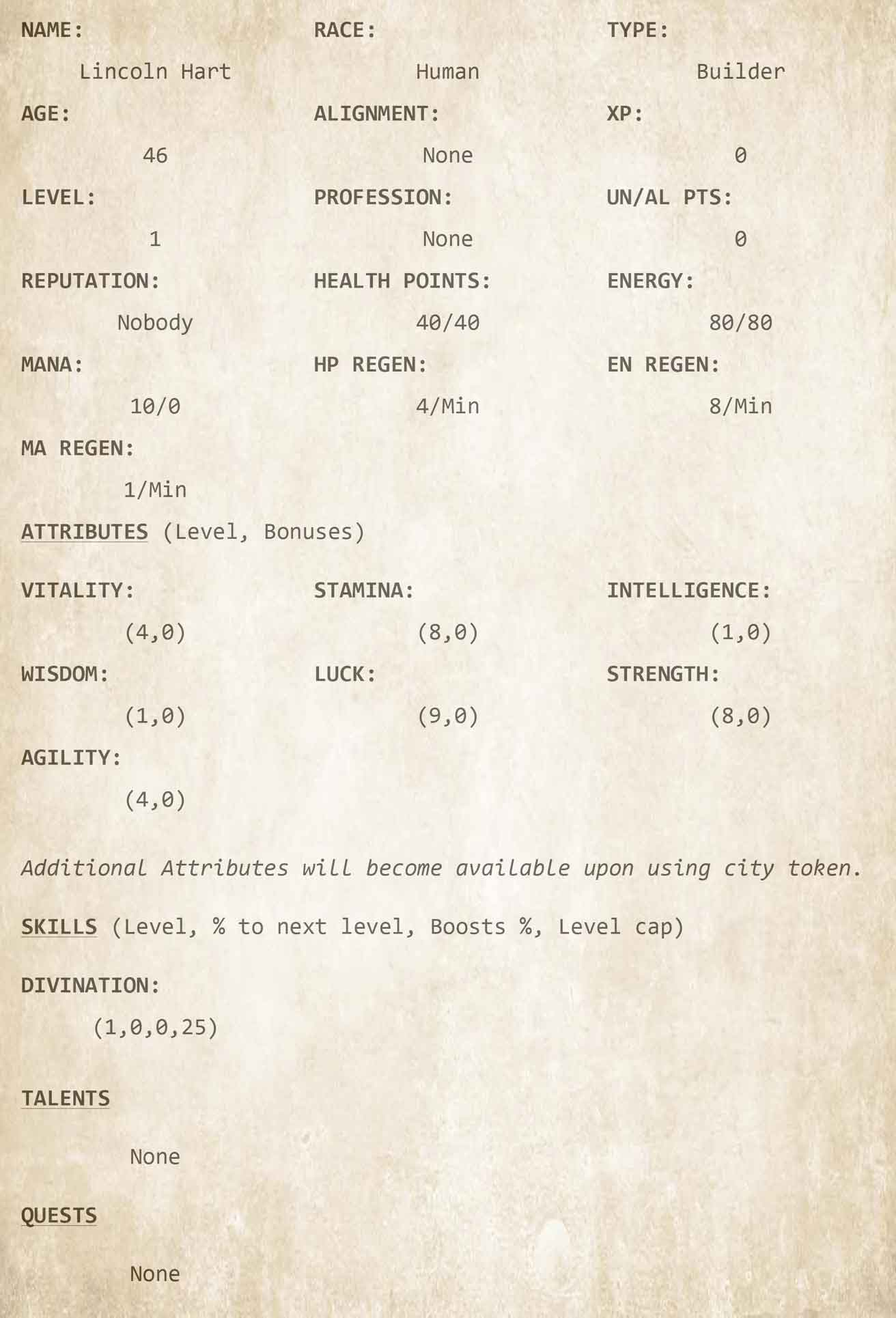The Legacy Builder Character Sheets - LitRPG by Ember Lane Ch3