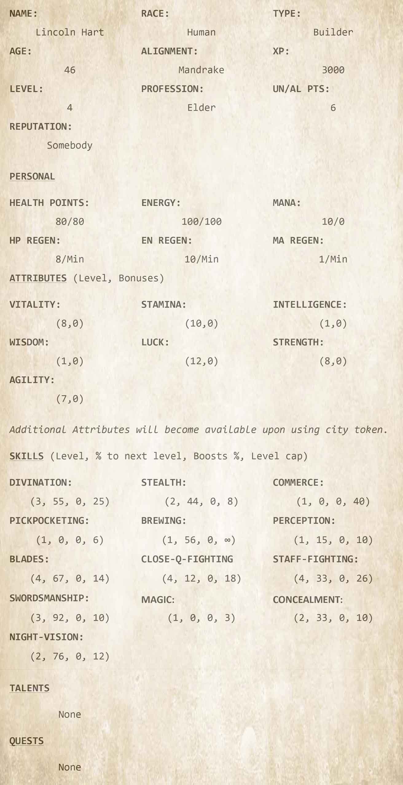 The Legacy Builder Character Sheets - LitRPG by Ember Lane Ch12